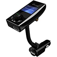 FM transmitter with ON OFF Switch, CHGeek Bluetooth Hands-free Call Car Kit, Wireless In-Car Radio Adapter, USB Car Charger, Aux Port TF Card U-Disk MP3 Player for iPhone Android