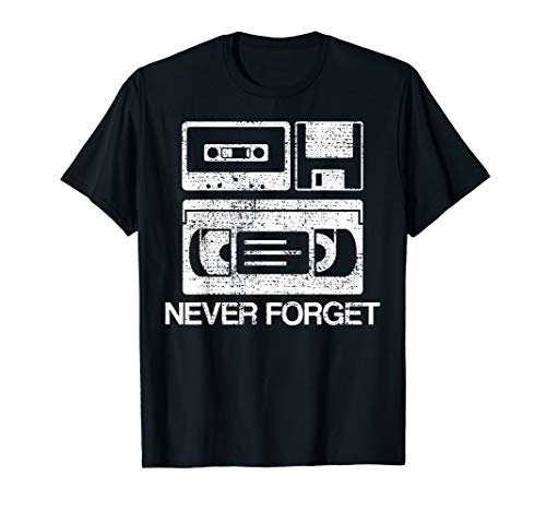(Never Forget Audio Cassette 70s 80s 90s T-Shirt Gift Tee)
