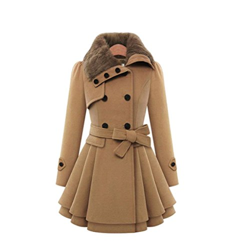 Kimloog Women Double-Breast Warm Faux Fur Lapel Slim Trench Coat Overcoat Outwear Thicken Long Parka with Belt (M, Coffee) Closure Overcoat