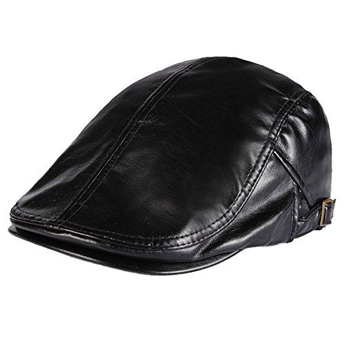 Men PU Leather Duckbill Cap Vintage Ivy Newsboy Cap Flat Cap Cabby Hat-Black