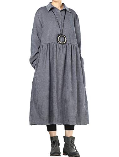 Mordenmiss Women's Corduroy Pleated Dress Button-up Spread Collar Shirt Dress (L Gray)