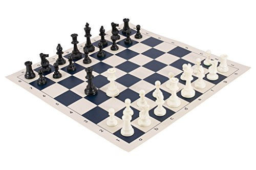 (The House of Staunton Tournament Chess Pieces and Chess Board Combo - Single Weighted - by US Chess Federation (Navy))