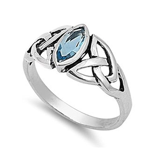 Sterling Silver Marquise Cut Light Blue Cubic Zirconia CZ Celtic Ring - size 10 ()