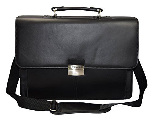Kenneth Cole Reaction Flap-py Gil-more Genuine Leather Double Gusset Portfolio - Black