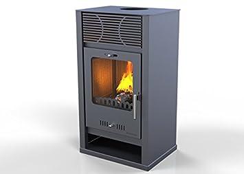 Hosseven, estufa de leña CELINE kw 7,5, bio clase eficiencia energética A+ eco calefacción y bioclimatismo sostenible, color gris: Amazon.es: Hogar