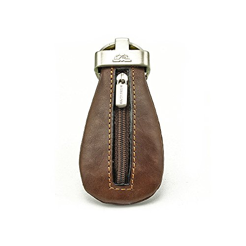 Tony Perotti Italian Leather Coin Case Keychain Double Ring Key Holder with Zippered Pouch, Brown