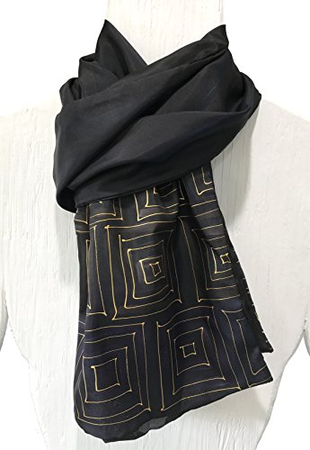 Mens Silk Scarf, Hand Painted Silk Scarf Black Scarf, Gold Zen Maze, Reversible Scarf by Silk Scarves Takuyo