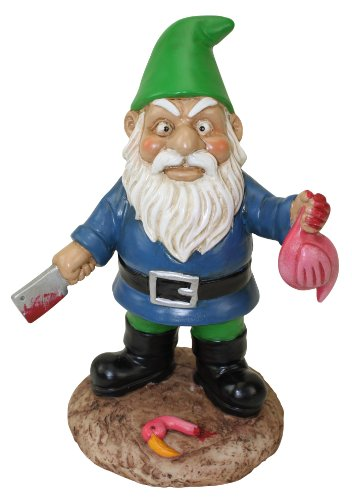 Cheap BigMouth Inc The Butcher Garden Gnome, Funny Lawn Gnome Statue, Garden Gnome Decoration Killing Flamingo