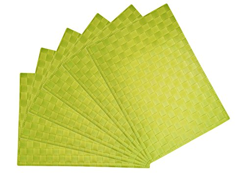 Heat Resistant, Non-slip Insulation Placemat, Cross-weave, PVC Table Mats for Dining Table (6, Green)