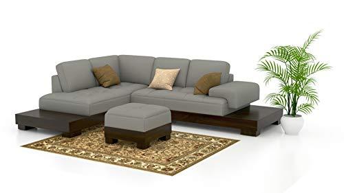 Funterior LShape European Leatherette 4 Seater Sofa Set Metal Grey