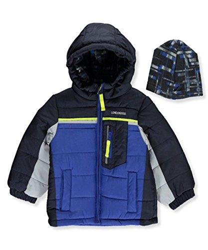 London Fog Baby Boys Active Heavyweight Bubble Jacket with Beanie, Blue/Black, 18M