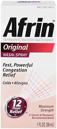 Afrin 12 Hour Decongestant Nasal Spray, Original, 1-Ounce