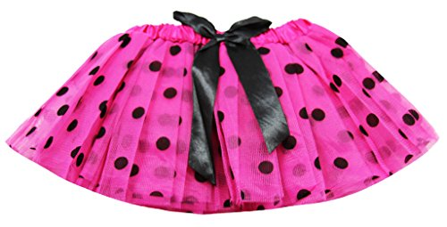 (Dress Up Dreams Boutique Tutu/Dance Tutu/Recital Tutu/Play Newborn Polka Dot Tutus with Satin Ribbon Bow-Hot Pink/Black)