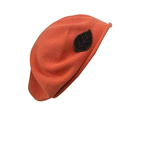 Carrot Cotton Beret with Brown Leaf Applique