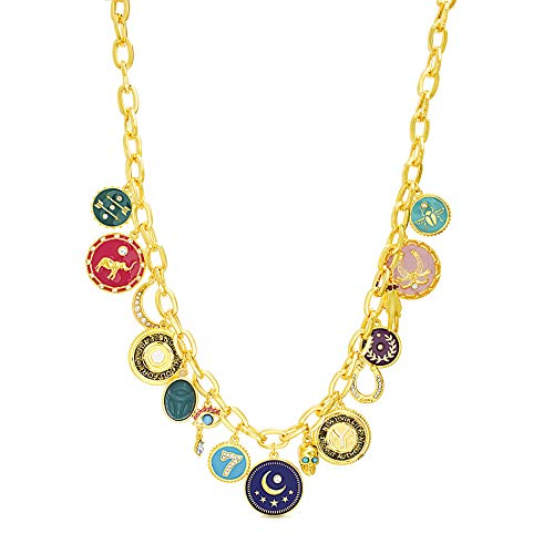 Steve Madden Women's Multicolor Lucky Charm Disc Yellow Gold-Tone Lariat Necklace, One Size