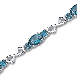 Designed just for you 12.50 carats total weight Oval & Round Cut London Blue Topaz Gemstone Bracelet in Sterling Silver Rhodium Nickel Finish by Peora