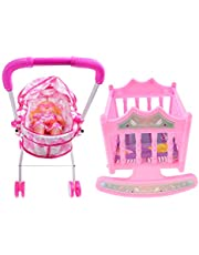 Colcolo Babydocka med barnvagn, barnvagn, babysäng, spjälsäng, leksak, barnvagn för 25 28 cm docka