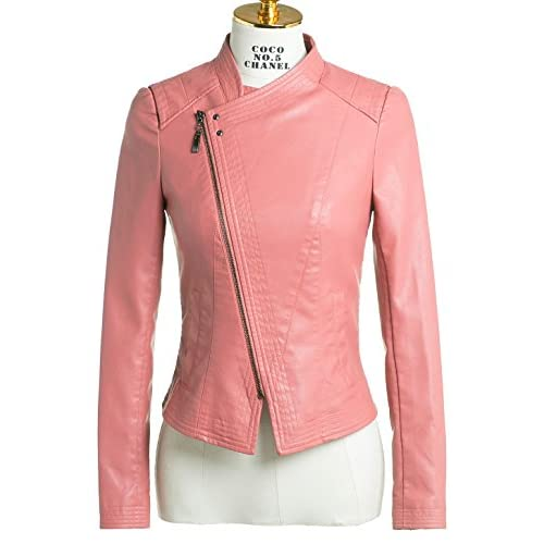 Chouyatou Women's Basic Collarless Lapel Front Zipper Faux Leather Biker Jacket for cheap