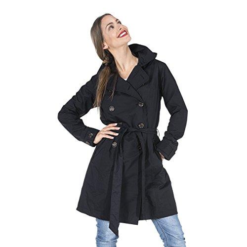 HappyRainyDays - Femme | Manteau impermable, trench-coat avec capuche, Veste de pluie Noir