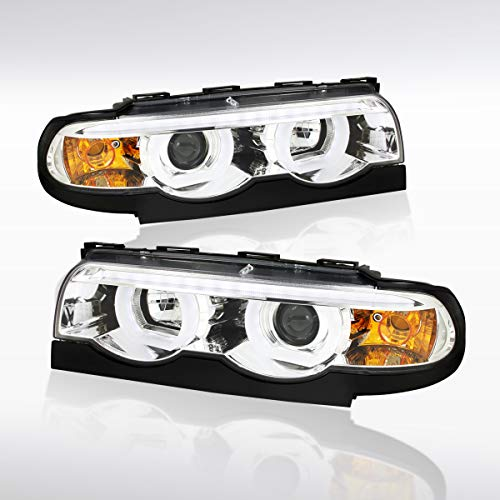 Autozensation For BMW E38 7-Series EuroClear Dual Halo LED Strip Projector Headlights Pair