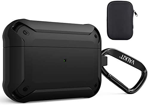 Valkit Compatible AirPods Pro Case,Shockproof Rugged Protective Full-Body Drop Resistant Cover Heavy Duty Case Men Women with Keychain for Airpods Pro Charging Case [Front LED Visible] – Black