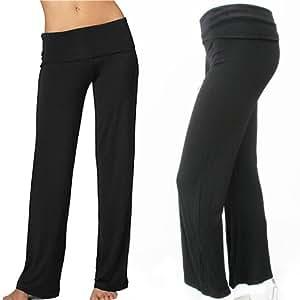 Womens Black Yoga Pants Foldover Waist Fitness Gym Athletic Stretch Lounge New M