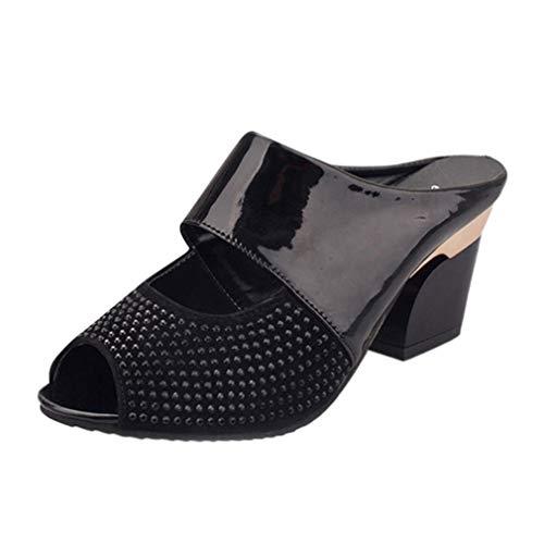 Mocassins Ouvert Mode Pente Noir Femmes A Hauts Talons forme Electri Tongs Été Talon Chaussures Bout Compensé sexy Plate Sandales PwRPq8gO6