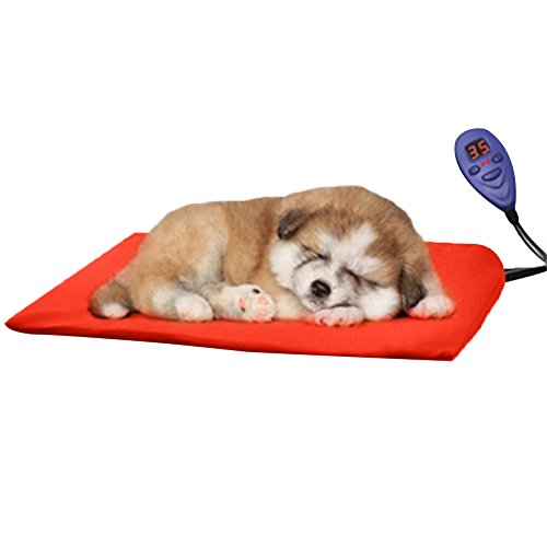 - Pet Heating Pad for Dogs Cats with Temperature Controller DC 12V Soft Pet Electric Heat Pat Mat Warmer Blanket for Dog Pet to Keep Warm By Rely2016 (40 x 30cm, Red-UL 120V)