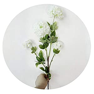 4 Heads 85cm Snowball Hydrangea Artificial Silk Flowers Wedding Christmas Living Room Decoration with Artificial Leaves,White 25
