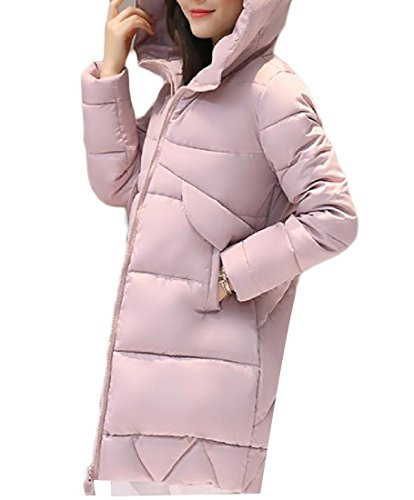 Coats Keeping Chic Color Pink Warm Pocket Long AGAING Women Sections Down Pure vnqYa58x