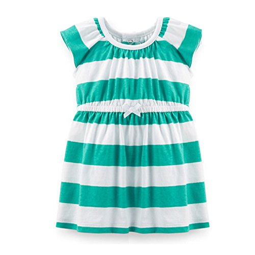 NEW Summer Baby Girl Cotton Dress Infant Toddler Girl Dress Children Summer Casual Dress Clothing Stripe Dot 9m 12m 18m 24m green stripe 18M (50s Short Hairstyle)