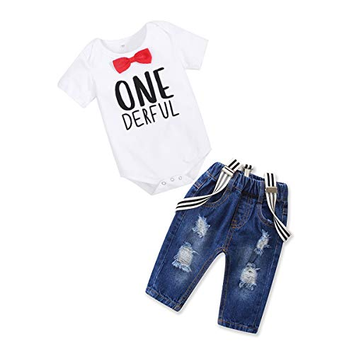 Toddler Baby Boy Clothes Set Bowtie Romper Suspenders Ripped Denim Pants Outfits (One Derful, 70/Fit 0-6 Months)
