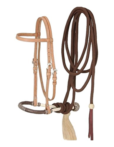 Tough 1 Royal King Browband Headstall Bosal/Cotton Cord Mecate Set, Light Oil