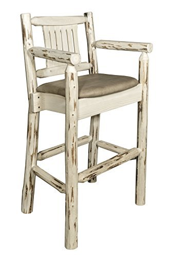 Montana Woodworks MWBSWCASBUCK Montana Collection Captain's Barstool, Ready to Finish with Upholstered Seat, Buckskin Pattern