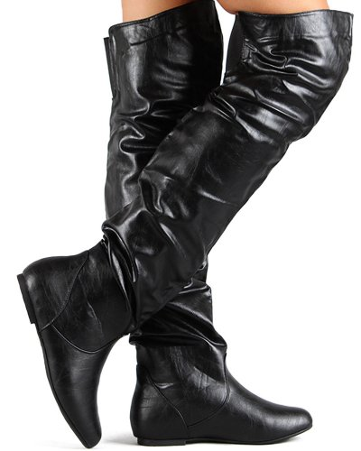 AC09 Thigh Women Breeze Slouchy Boot Leatherette Black Nature High 7p5qn