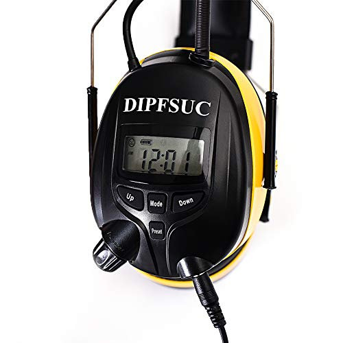 DIPFSUC Rechargeable Bluetooth AM/FM Radio Headphones,Wireless Hearing Protection Safety Work Ear Muffs with 1200mAh Li-ion Battery,NRR 25dB Noise Cancelling Headsets for Lawn Mowing/Construction by DIPFSUC (Image #8)