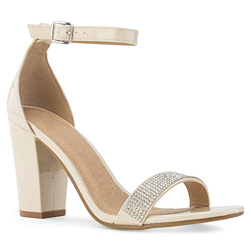RF ROOM OF FASHION Jeweled Open Toe Ankle Strap Chunky Heel Dress Sandals Nude Size.6
