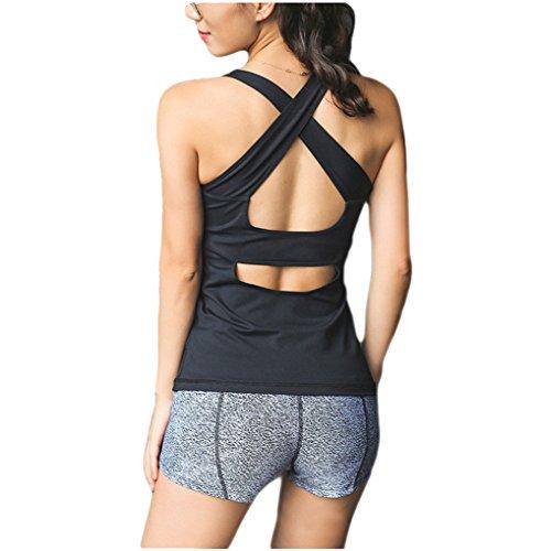 (Women Workout Yoga Crisscross Open Back Backless Sports Tank Tops Built in Bra Black S )
