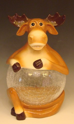 Ceramic Moose Cookie Jar<br>Glass Belly<br>Approx 8.5 x 8.5 x 13 inches