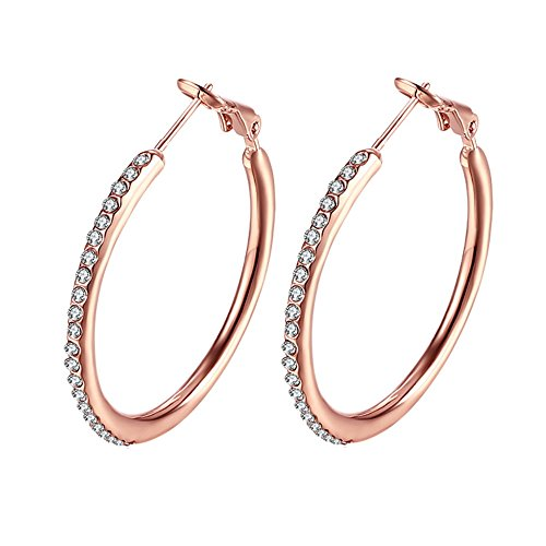Fashion Rhinestones Cubic Zirconia Rose Gold Hoop Earrings For Women Girls Crystal Sensitive Ears Hypoallergenic