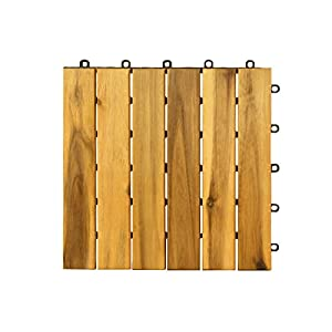 Villa Acacia Wood Tile, Outdoor Patio and Deck - 12 x 12 Inch (Pack of 10) (6 Slat)