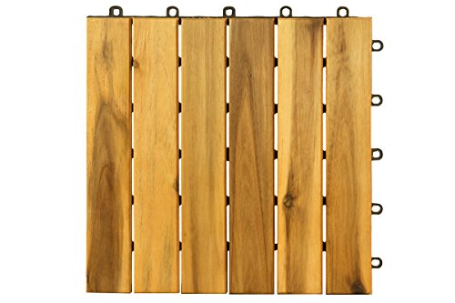 Villa Acacia Wood Tile, Outdoor Patio and Deck - 12 x 12 Inch (Pack of 10) (6 Slat) (Deck Diy Patio)