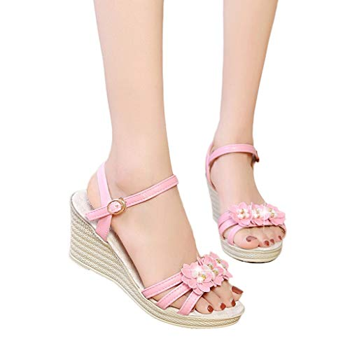 Women's Sandals Bummyo Women's Wedge Sandals Women's Open Toe Shoes Women's Fashion Sturdy Wedge Flower Crystal Sandals Arch Support Casual Shoes Slippers Sandals Women(6M US, Pink)