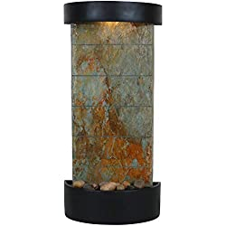Sunnydaze Decor Slate Indoor Wall or Tabletop Water Fountain, Slate Facade with Black Finished Frame, 25-Inch