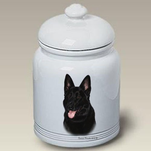 German Shepherd (Black): Ceramic Treat Jar 10