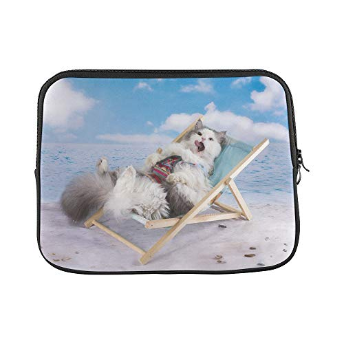 Design Custom Cat in A Swimsuit Sunbathe On The Beach Sleeve Soft Laptop Case Bag Pouch Skin for MacBook Air 11(2 Sides)