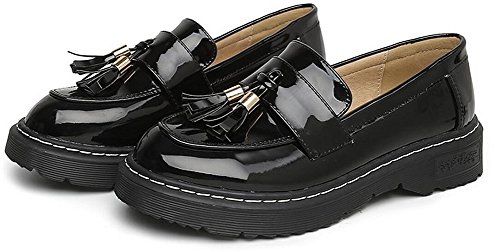 On Shoes JiYe Black Flat Leather Women's Shoes Dress by 1 Slip Oxford wUnxn4Sg1q