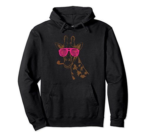 Giraffe Smoking On Party Glasses & Pipe Funny Animal Hoodie ()
