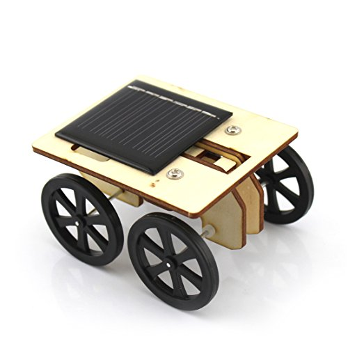 Ezoe's Wooden DIY Solar Car Kit - Solar Powered Assemble Toy Set - Creative Science Educational Kit for Kids Students Technology Puzzle Toy IQ Gadget Hobby Funny Robot Vehicle