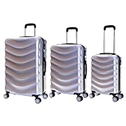 Karabar Set of 3 Hard Polycarbionate PC Suitcases Luggage Bags Small Carry-on Cabin, Medium and Large ABS Shell Sets…